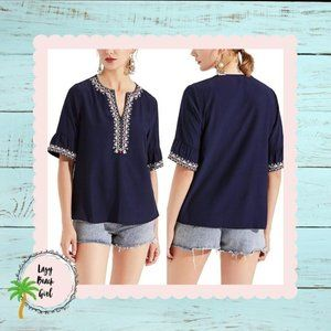Navy Embroidered Bell Sleeve Top
